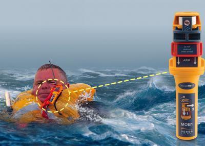 AIS MOB - MOB1 is makkelijk te bevestigen op alle reddingsvesten en activeert automatisch als hij te water raakt.